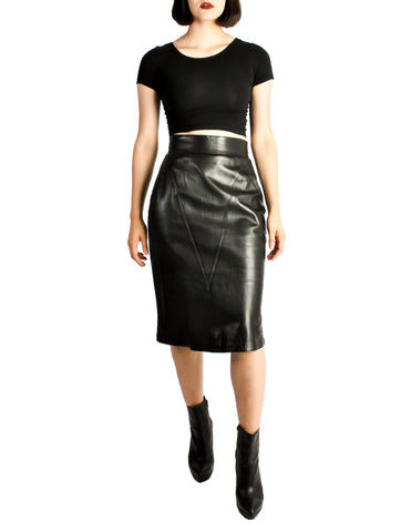 Alaïa Vintage Black Leather Pencil Skirt
