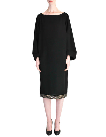 Alaïa Vintage Black Wool Sack Grommet Dress