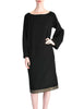 Alaïa Vintage Black Wool Sack Grommet Dress - Amarcord Vintage Fashion  - 2