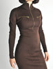 Alaïa Vintage Brown Stretch Knit Body Con Dress - Amarcord Vintage Fashion  - 7