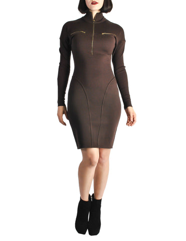 Alaïa Vintage Brown Stretch Knit Body Con Dress