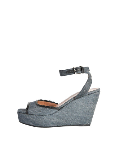 Alaïa Vintage Leather and Denim Wedge Sandals