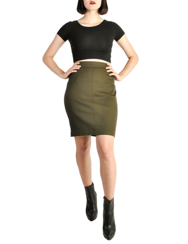 Alaïa Vintage Iconic Olive Green Stretch Skirt
