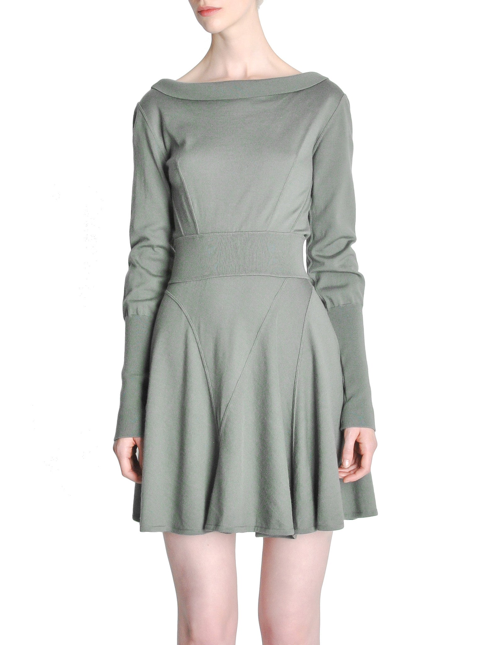 Alaïa Vintage Sage Green Deep V Back Dress - Amarcord Vintage Fashion  - 1