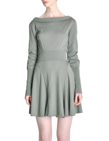 Alaïa Vintage Sage Green Deep V Back Dress
