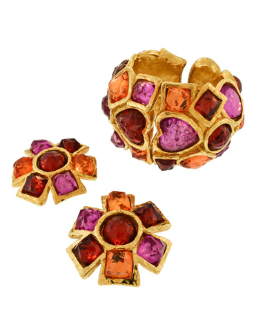 Alexis Lahellec Vintage Multicolor Gold Statement Bracelet and Earrings Set