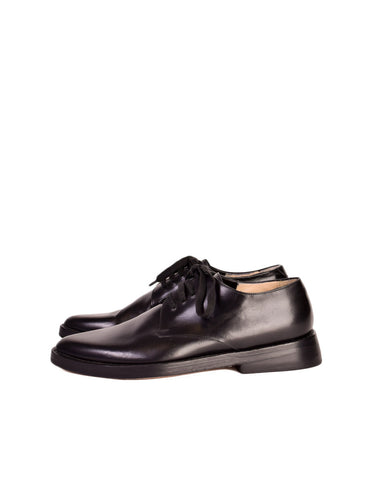 Ann Demeulemeester Vintage Smooth Black Leather Pointed Toe Oxford Shoes
