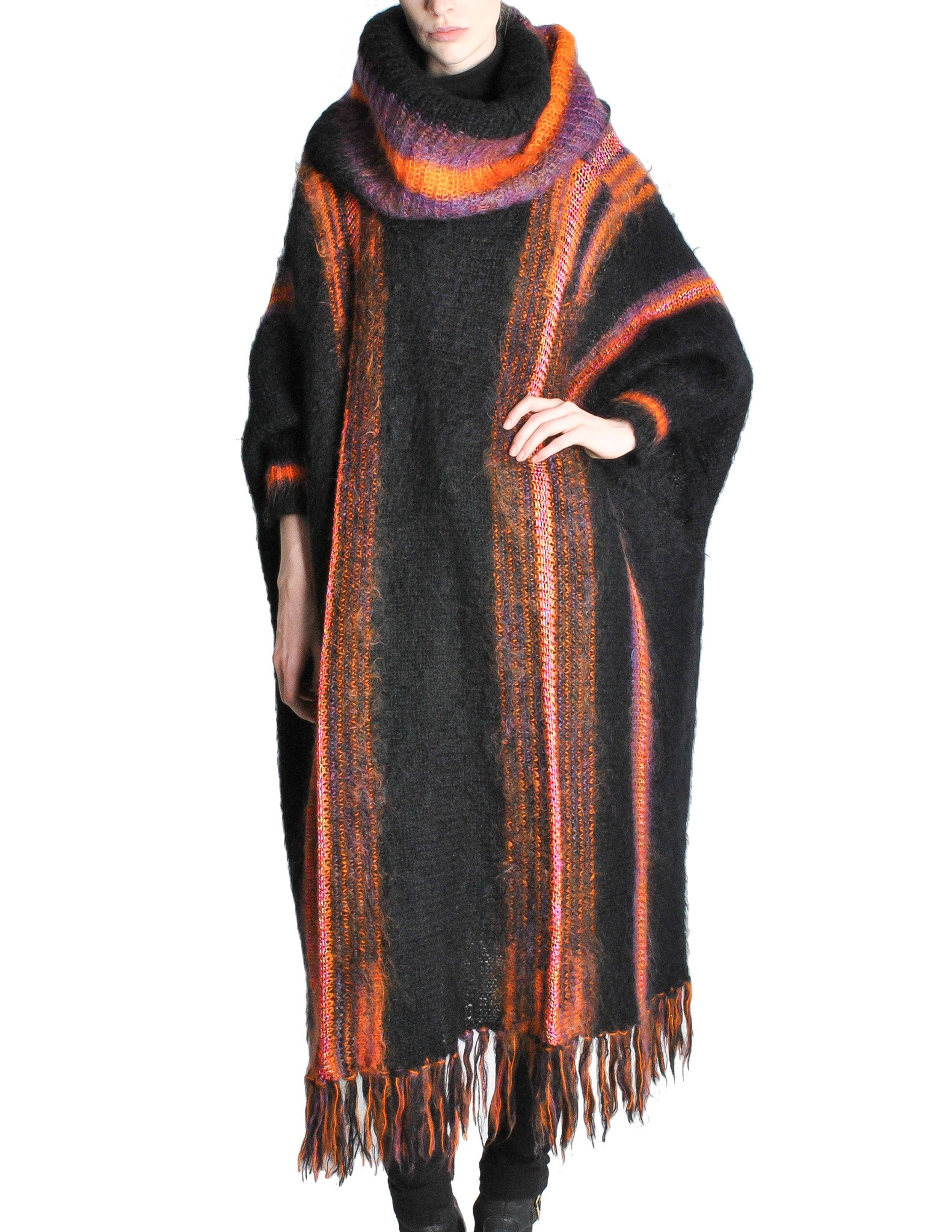 B. Altman & Co. Vintage Striped Knit Mohair Poncho - Amarcord Vintage Fashion  - 1