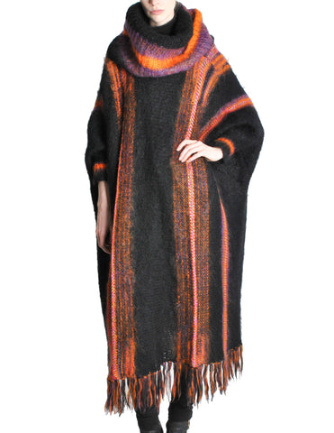 B. Altman & Co. Vintage Striped Knit Mohair Poncho