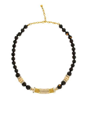 Balenciaga Vintage Black & Gold Rhinestone Necklace