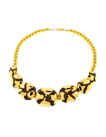 Balenciaga Vintage Gold & Brown Enamel Choker Necklace