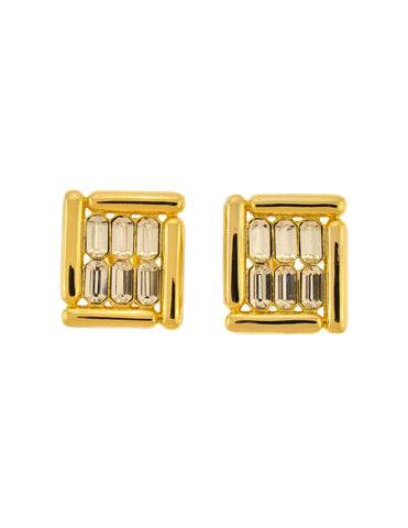 Balenciaga Vintage Gold Rhinestone Earrings