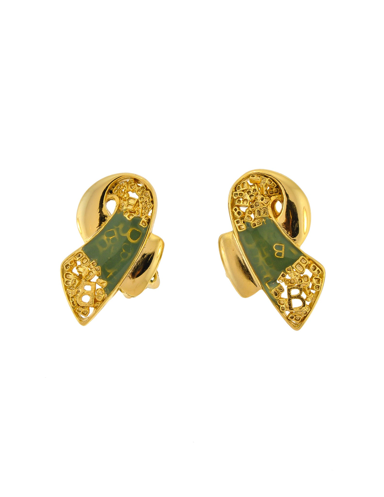 Balenciaga Vintage Seafoam Enamel Gold Twist Earrings - Amarcord Vintage Fashion  - 1