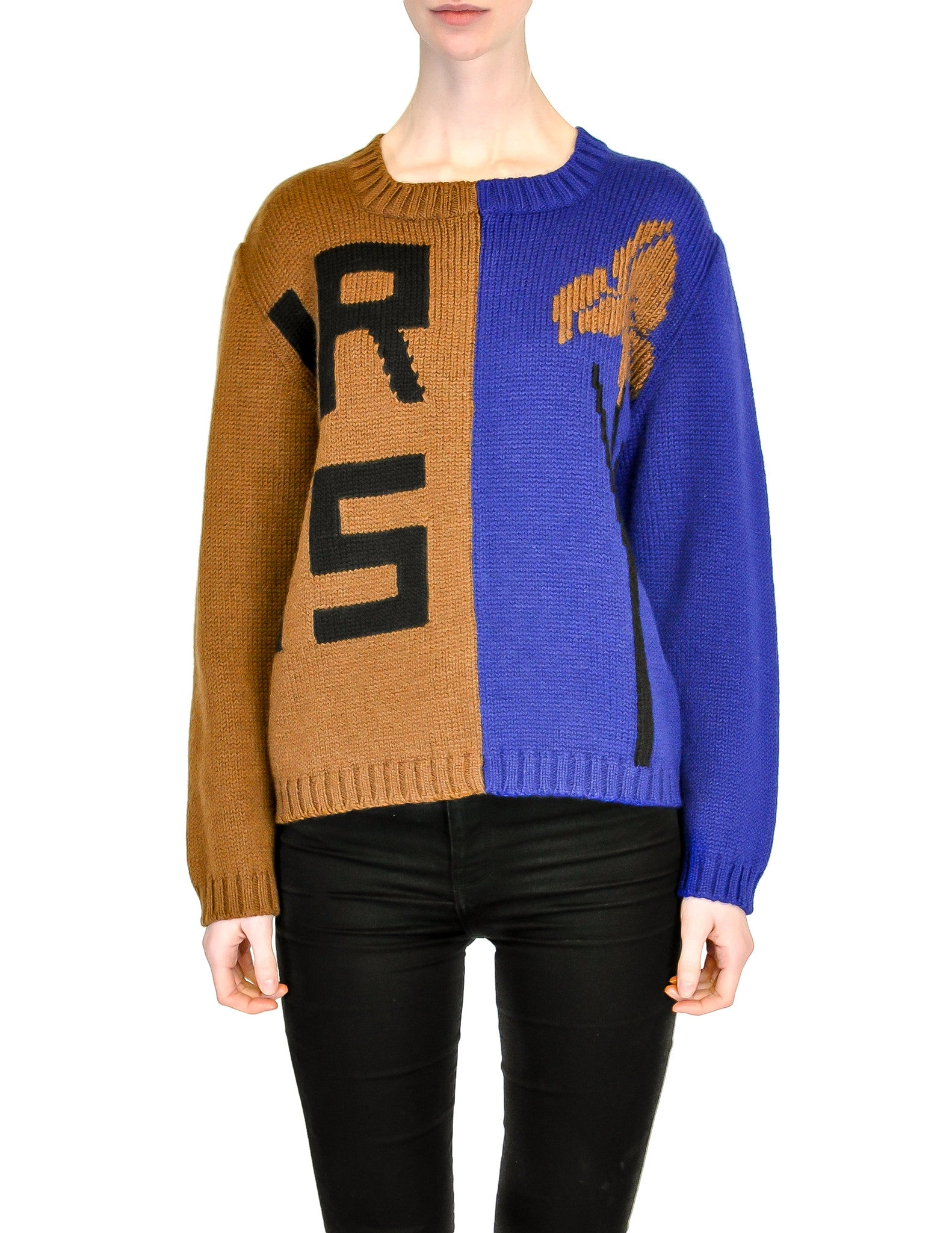 Anne Marie Beretta Vintage Blue & Brown Iris Sweater - Amarcord Vintage Fashion  - 1
