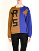 Anne Marie Beretta Vintage Blue & Brown Iris Sweater - Amarcord Vintage Fashion  - 5