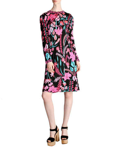 Bessi Vintage Silk Jersey Tropical Floral Print Dress