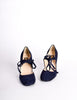 Biba Vintage Navy Blue Suede Mary Jane Heels - Amarcord Vintage Fashion  - 4