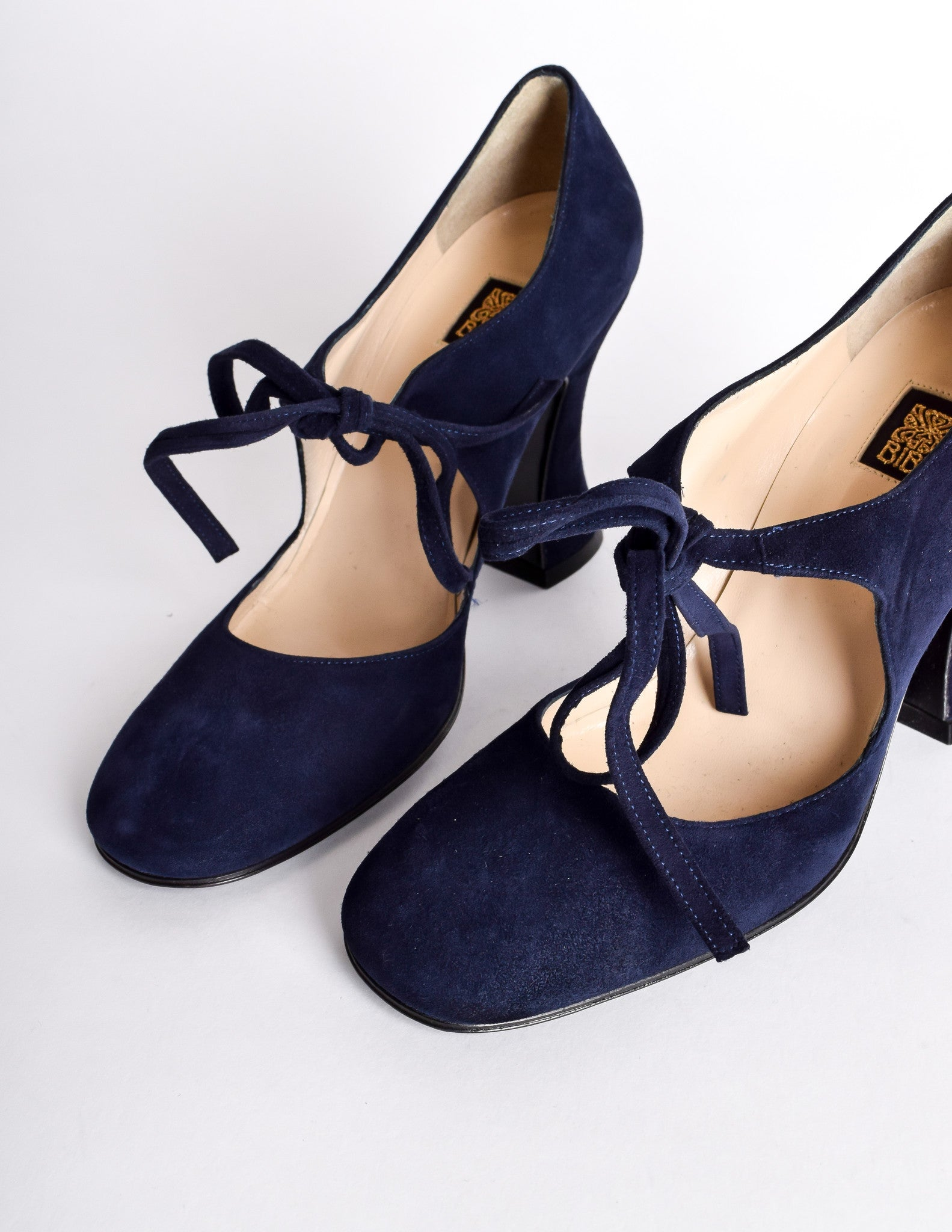 Biba Vintage Navy Blue Suede Mary Jane Heels - from Amarcord