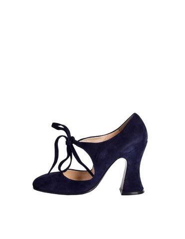 Biba Vintage Navy Blue Suede Mary Jane Heels