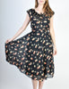 Cori Vintage Semi-Sheer Black Cherry Print Wrap Dress - Amarcord Vintage Fashion  - 3