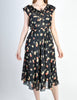 Cori Vintage Semi-Sheer Black Cherry Print Wrap Dress - Amarcord Vintage Fashion  - 2