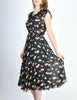 Cori Vintage Semi-Sheer Black Cherry Print Wrap Dress - Amarcord Vintage Fashion  - 4