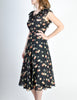 Cori Vintage Semi-Sheer Black Cherry Print Wrap Dress - Amarcord Vintage Fashion  - 7