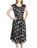 Cori Vintage Semi-Sheer Black Cherry Print Wrap Dress - Amarcord Vintage Fashion  - 1