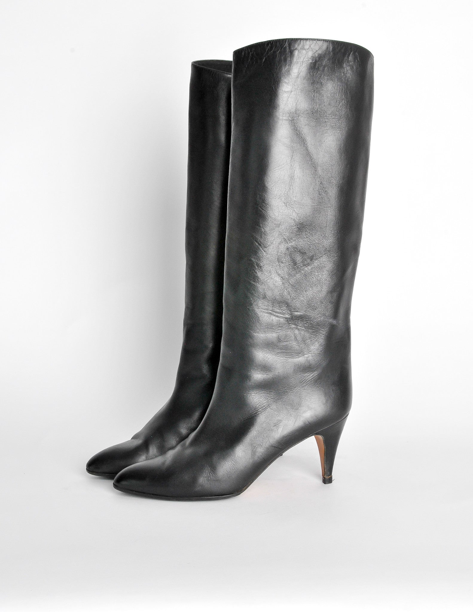 eebdc12540a Garolini Vintage Black Leather Knee High Boots - Amarcord Vintage Fashion -  2