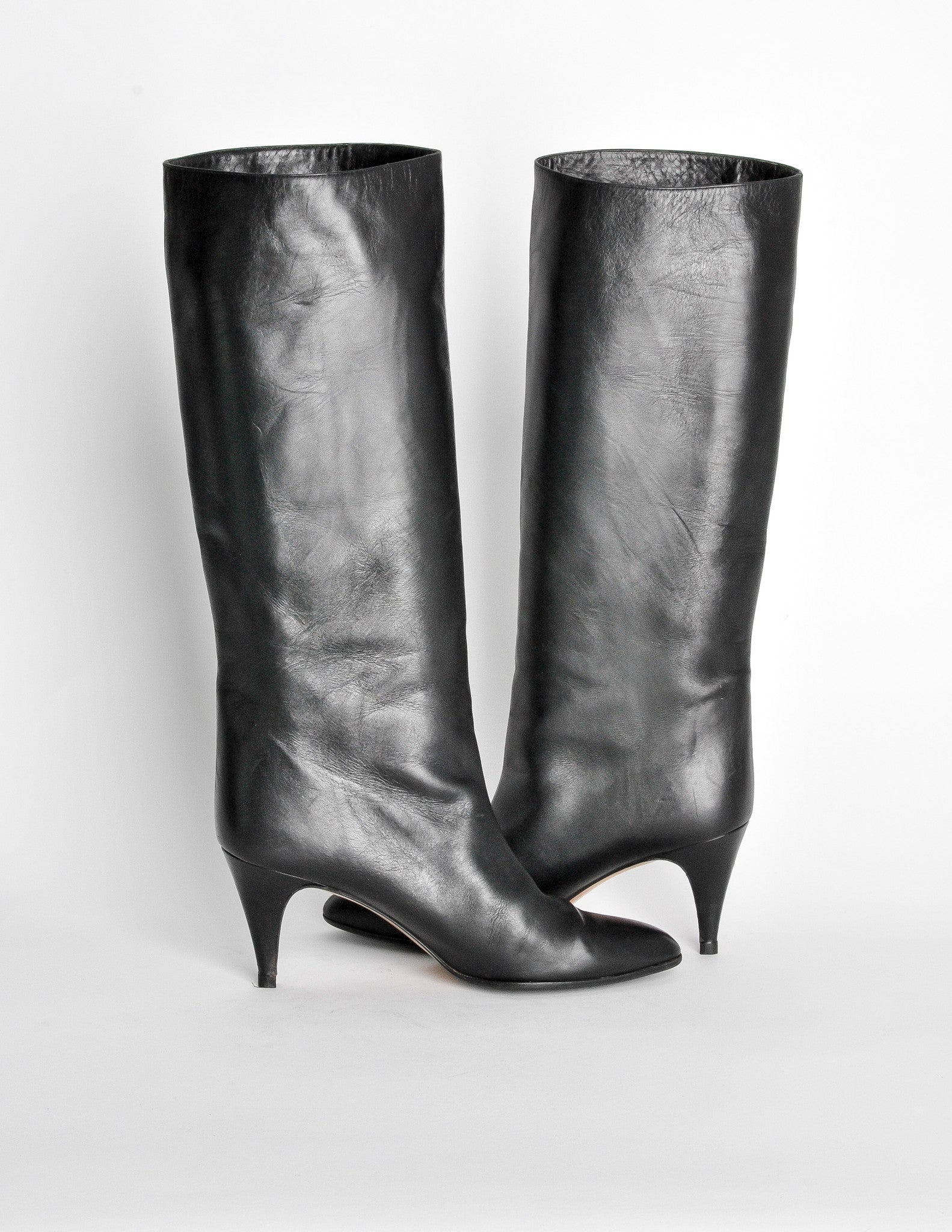 761d4480386 Garolini Vintage Black Leather Knee High Boots - Amarcord Vintage Fashion -  3