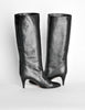 Garolini Vintage Black Leather Knee High Boots - Amarcord Vintage Fashion  - 3