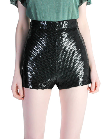 Vintage 1970s Black Sequin Hot Pant Shorts