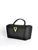 Surrey Vintage 1960s Black Box Handbag - Amarcord Vintage Fashion  - 3