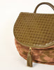 Bottega Veneta Vintage Green and Brown Intrecciato Woven Leather and Camouflage Suede Shoulder Bag with Matching Silk Scarf