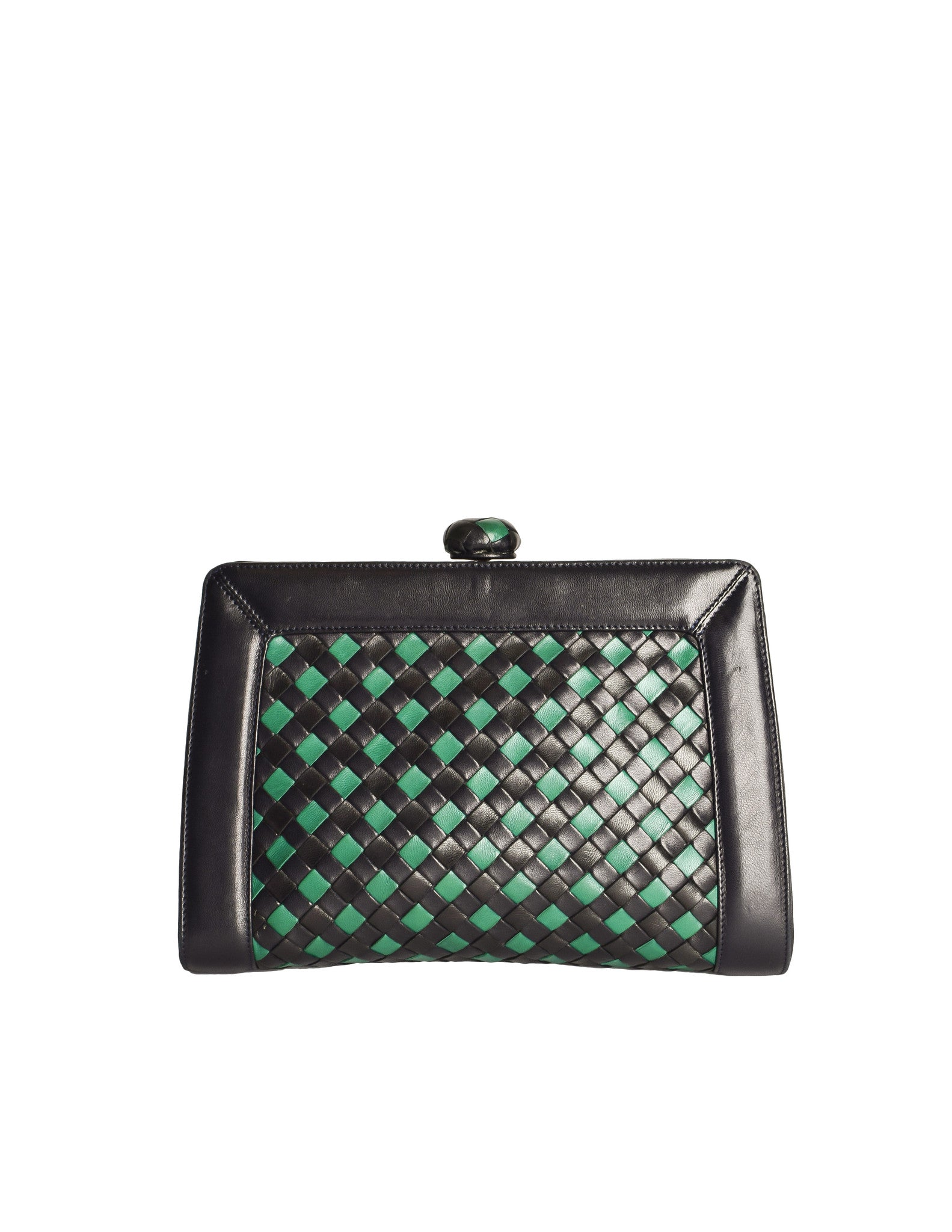 Bottega Veneta Vintage Intrecciato Blue & Green Woven Leather Clutch Bag - Amarcord Vintage Fashion  - 1