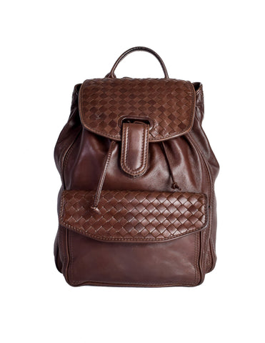 Bottega Veneta Vintage Intrecciato Brown Woven Leather Backpack