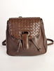 Bottega Veneta Vintage Intrecciato Brown Woven Leather Mini Backpack - Amarcord Vintage Fashion  - 2