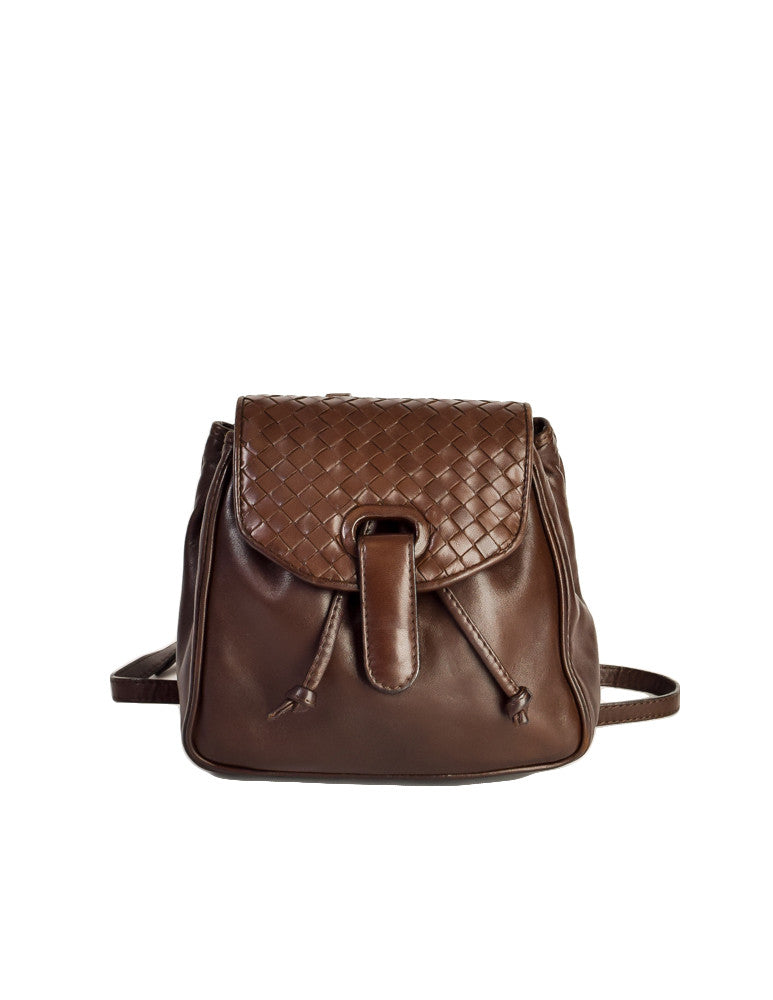 Bottega Veneta Vintage Intrecciato Brown Woven Leather Mini Backpack - Amarcord Vintage Fashion  - 1