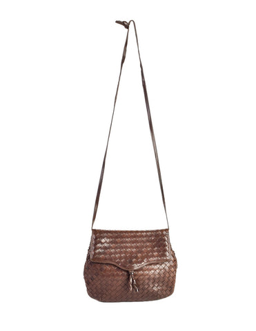 Bottega Veneta Vintage Intrecciato Brown Woven Leather Crossbody Bag