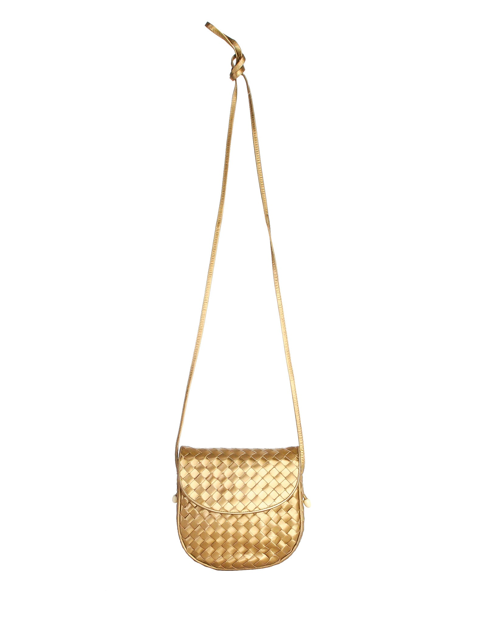 Bottega Veneta Vintage Intrecciato Gold Woven Leather Crossbody Bag - Amarcord Vintage Fashion  - 1