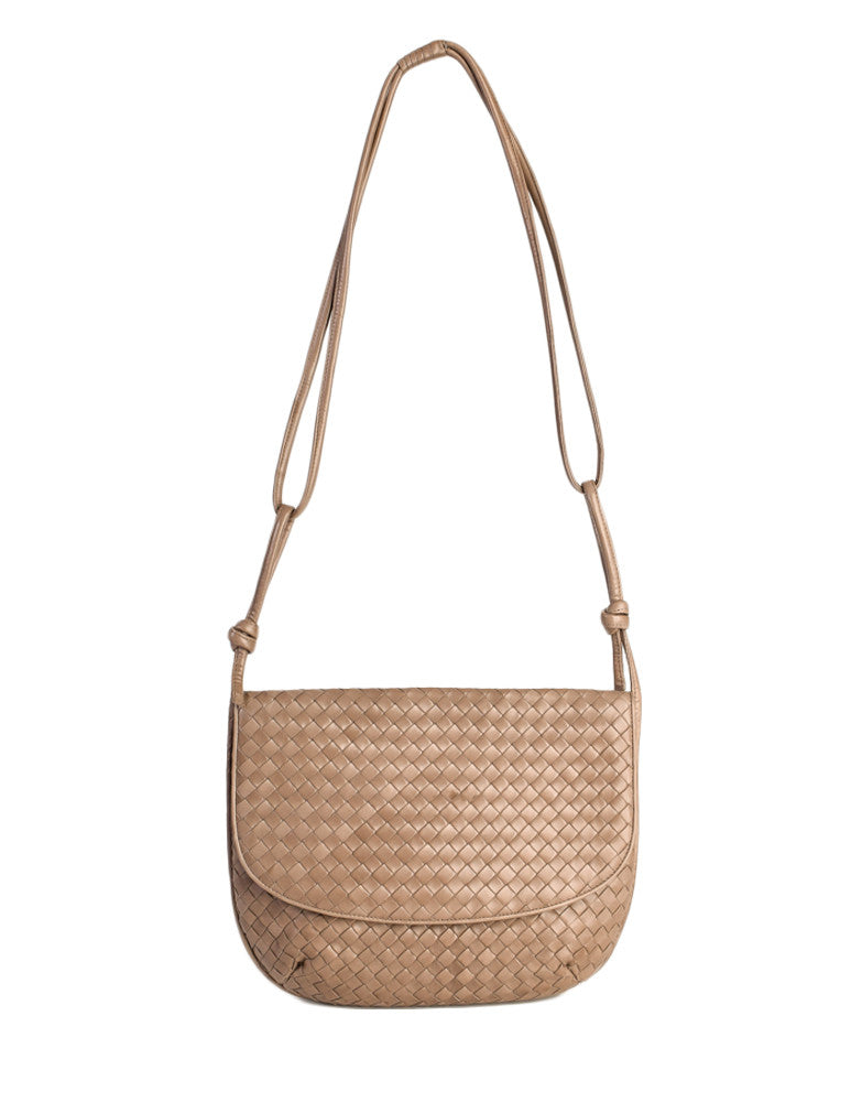 Bottega Veneta Vintage Intrecciato Mushroom Brown Woven Leather Shoulder Bag - Amarcord Vintage Fashion  - 1