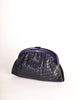 Bottega Veneta Vintage Intrecciato Navy Blue Woven Leather Clutch Bag - Amarcord Vintage Fashion  - 4