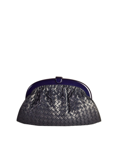Bottega Veneta Vintage Intrecciato Navy Blue Woven Leather Clutch Bag
