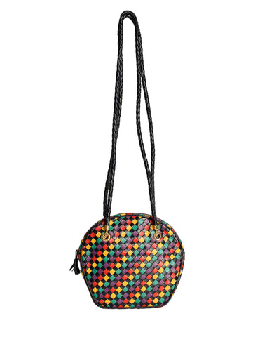 Bottega Veneta Vintage Intrecciato Multicolor Woven Leather Shoulder Bag