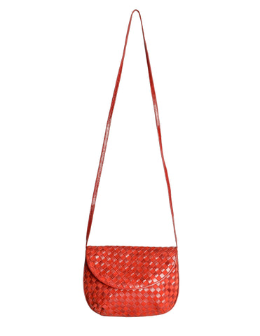 Bottega Veneta Vintage Intrecciato Red Woven Leather & Suede Crossbody Bag