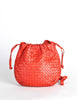 Bottega Veneta Vintage Intrecciato Red Woven Leather Drawstring Bag - Amarcord Vintage Fashion  - 2