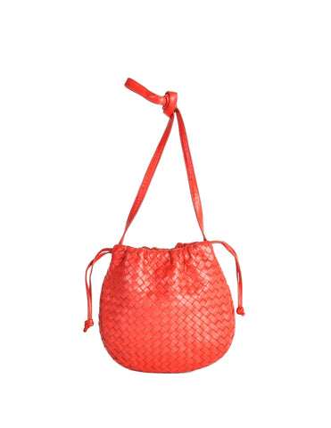 Bottega Veneta Vintage Intrecciato Red Woven Leather Drawstring Bag