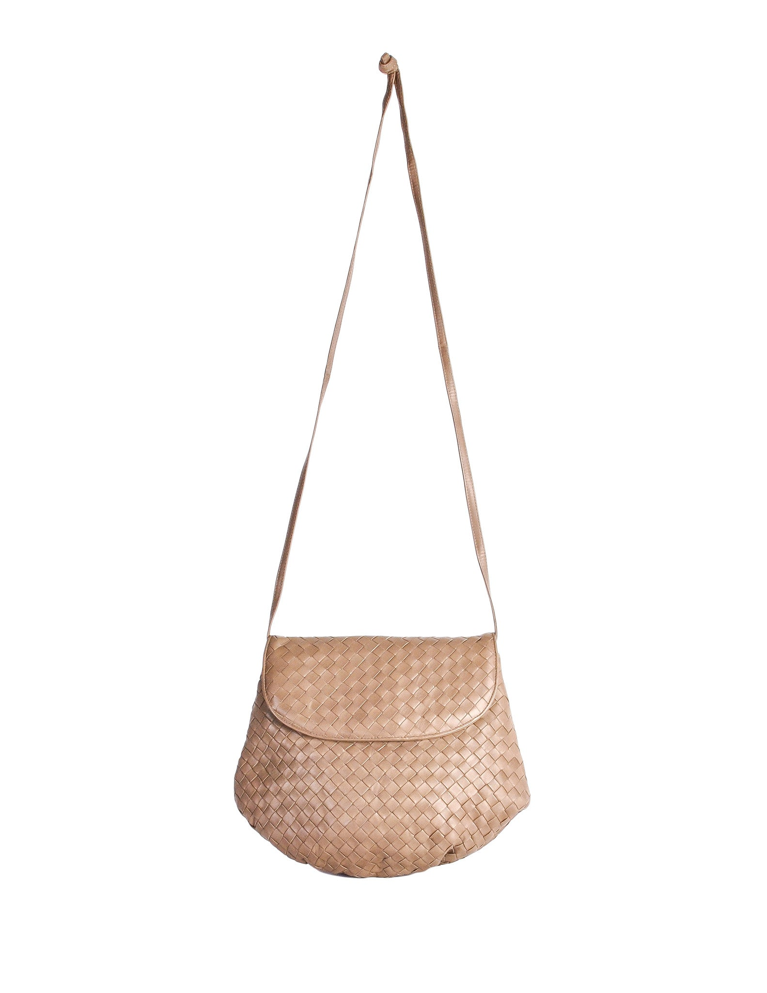 Bottega Veneta Vintage Intrecciato Mushroom Brown Woven Leather Crossbody Bag - Amarcord Vintage Fashion  - 1