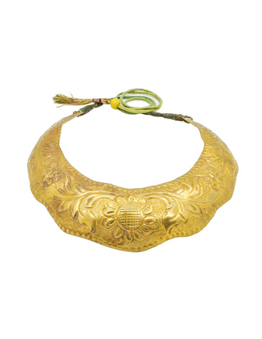 Vintage Brass Tin Tribal Choker Necklace
