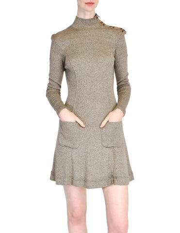 Byblos Vintage Brown Embroidered Sweater Dress